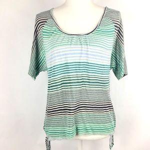 Ella Moss Top XS Striped Knit Shirt Blue Green
